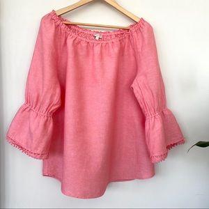 Talbots cotton/linen peasant top